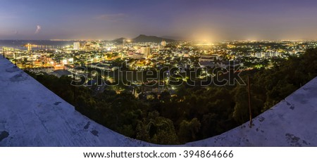 panorama photography of Aerial view of the housing of Sriracha, Chonburi Industrial city of Thailand. - stock photo