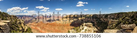 Panorama: Pipe Creek View - Grand Canyon, South Rim, Arizona, AZ, USA
