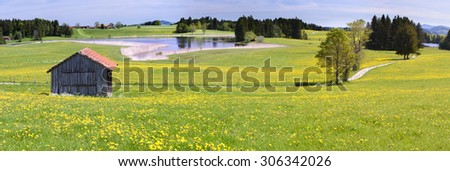 panorama scenery in Bavaria with alps mountains, lake and meadow - stock photo