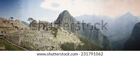 Panorama shot of Machu Picchu, interpreted as vintage photo