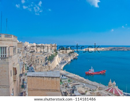 Panorama, skyline of the bay of Maltese capital city Valletta. - stock photo