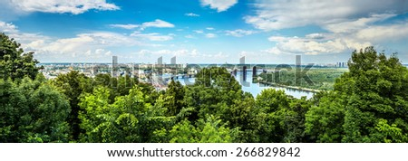 Panorama summer Kiev in the Ukraine with a view of the Dnieper River and bridges. - stock photo