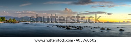Panorama sunset of Balaclava, North part of Mauritius with Port-Louis in the background - stock photo