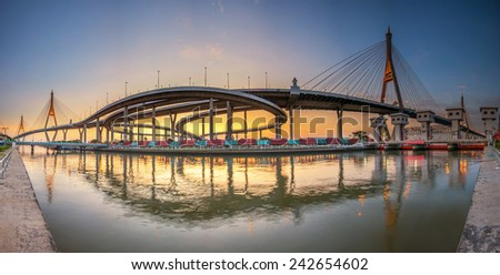Panorama The Bridge across the river at twilight, The Industrail Ring Road (Bangkok, Thailand)  - stock photo