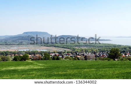 Panorama to Lake Balaton and volcanoes,Hungary