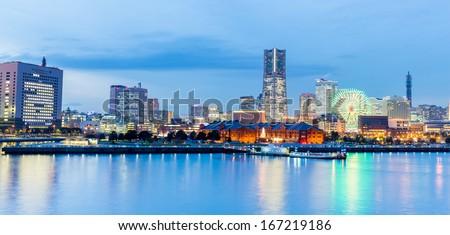 Panorama Twilight view of Yokohama bay in japan - stock photo