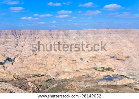 panorama valley of Wadi Al Mujib river and dam, Jordan - stock photo