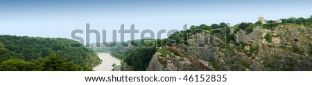 panorama view from clifton suspension bridge - stock photo
