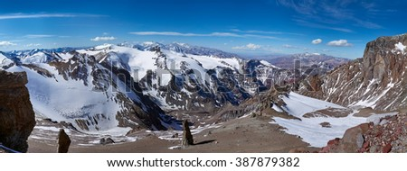 Panorama View from Guanacos camp at 5500 meters on Aconcagua Provincial Park, Mendoza, Argentina, South America.  - stock photo