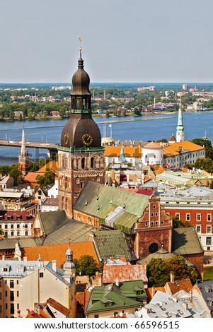 Panorama view from Riga cathedral on old town of Riga, Latvia - stock photo