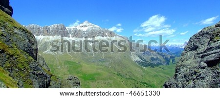 panorama view in Italien Dolomites - stock photo