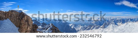 Panorama view of Alpine Alps mountain at Zugspitze top of Germany - stock photo