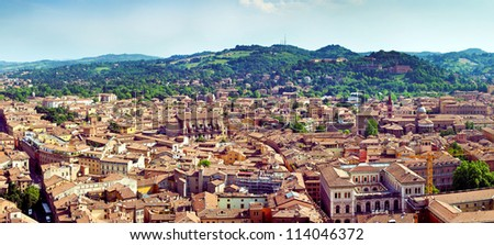 Panorama view of Bologna city in Italy. Postcard from Bologna - stock photo