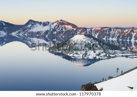 Panorama view of Crater Lake. Oregon, USA