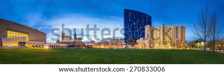 Panorama view of downtown Indianapolis skyline at twilight - stock photo