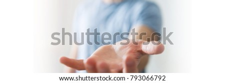 Panorama view of empty businessman hand on blurred background