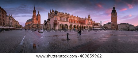 Panorama view of  Krakow Market at sunset - stock photo