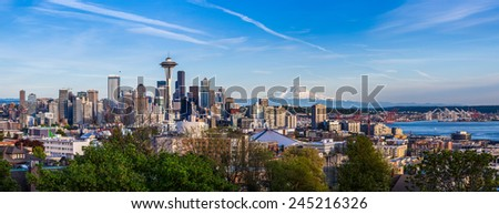 Panorama view of Seattle downtown skyline and Mt. Rainier, Washington. - stock photo