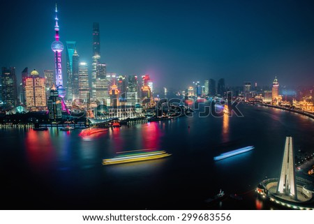 Panorama view of Shanghai city scape at night time. Aerial view. shanghai city skyline night, shanghai city river, shanghai city skyline boat, shanghai city skyline lights, city night, city light - stock photo
