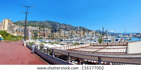 Panorama view of sunny Monaco seafront