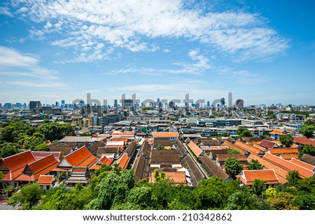 Panorama view of temple area and Bangkok, Thailand - stock photo