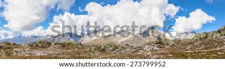 Panorama view of the Alps above the Aletschgletscher (glacier) in Kanton Wallis, Switzerland - stock photo