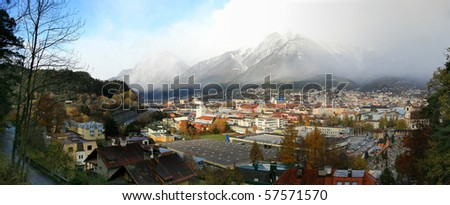 Panorama view of the Innsbruck city in autumn - stock photo