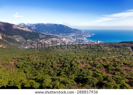 Panorama view of Yalta town from Ai-Petri mountain. Snow and iced pine trees on sunny winter day. Crimea, Black sea, Russia. - stock photo