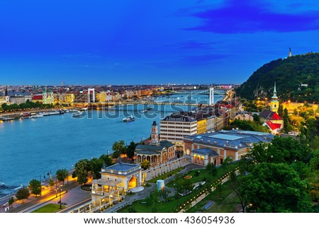 Panorama View on Elisabeth Bridge and Budapest,bridge connecting Buda and Pest parts.Night Time. - stock photo