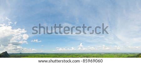 Panorama view on mountain - stock photo