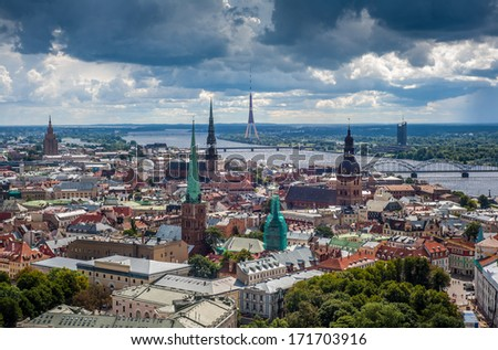 Panorama view on old town of Riga, Latvia before the storm. - stock photo