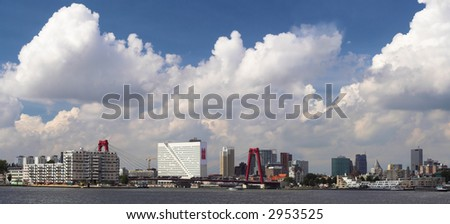 Panorama view on Rotterdam in the Netherlands - stock photo