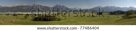 panorama view over landscape Allgaeu in germany nearby city fuessen - stock photo