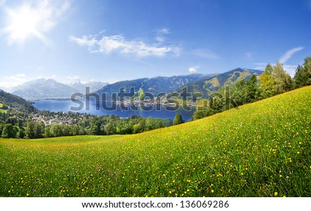 Panorama view over Zell am See, Austria - stock photo