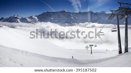 Panorama view to chair lift in Elm ski resort, Swiss Alps, Switzerland