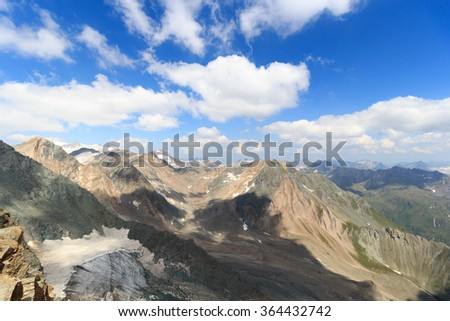 Panorama view with mountain Grossvenediger and glaciers in Hohe Tauern Alps, Austria - stock photo