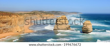 Panorama with the Two Apostles on the Great Ocean Road - stock photo