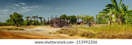 Panorama with wooden buildings along the road. Madagascar