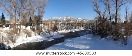 Panorama, Yampa River and cottonwoods in winter,   Steamboat Springs,  Colorado - stock photo