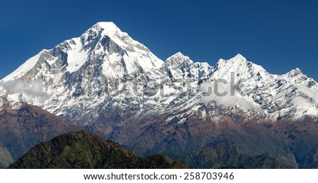 panoramatic view from Jaljala pass of Dhaulagiri and Annapurna Himal - Guerrilla trek in Western Nepal - stock photo