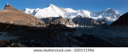panoramatic view of Cho Oyu - way to Cho Oyu base camp and Everest base camp - Nepal - stock photo