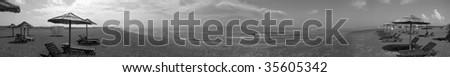 panoramatic view sea croatia - stock photo