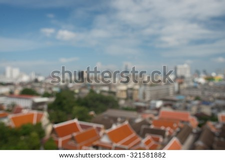 panoramic aerial view big city town blurred background - stock photo