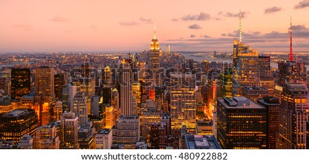Panoramic aerial view of a colorful sunset in New York City - All logos and trademarks removed - General view of the city