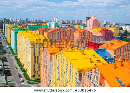 Panoramic aerial view of colored city street in Kyiv, Ukraine - stock photo