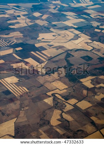 Panoramic, Aerial view of farmer's fields Queensland Australia - stock photo
