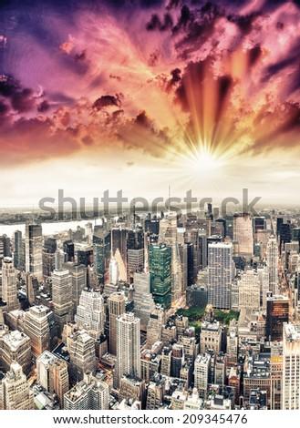 Panoramic aerial view of Manhattan at dusk. - stock photo