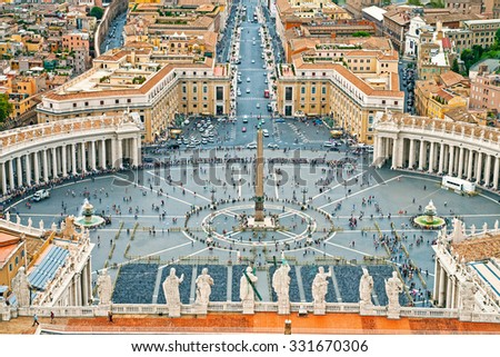 Panoramic aerial view of Rome and Saint Peter`s Square, Vatican, Italy - stock photo