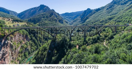 Panoramic aerial view of the Djurdjevica Bridge over the Canyon of the Tara River. Montenegro.