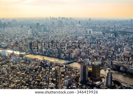 Panoramic aerial view of Tokyo in Japan at sunset - stock photo